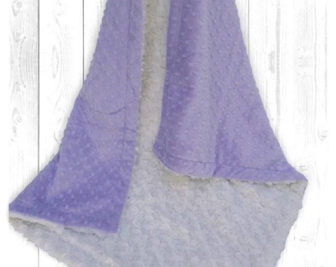 Lavender Minky Dot and Ivory Cream Minky Rosebud Swirl Baby Blanket, Light Purple Minky Dot, Baby Girl Blanket