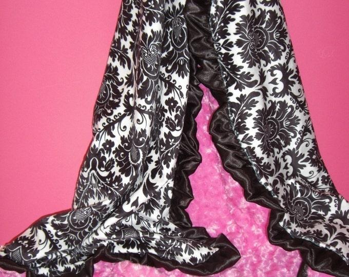 Fuchsia Pink and Black White Damask Minky Baby Blanket