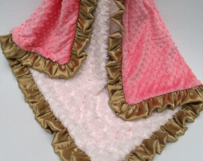 Cream, Gold, and Coral Pink Dot Minky Baby Blanket