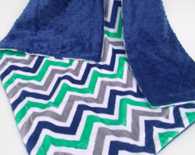 Navy Dot and Kelly Green Chevron Minky Baby Blanket, three sizes