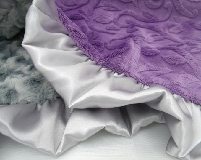 Purple Vine and Gray Rose Swirl Minky Baby Blanket - Toddler and Adult Blankets Also Available