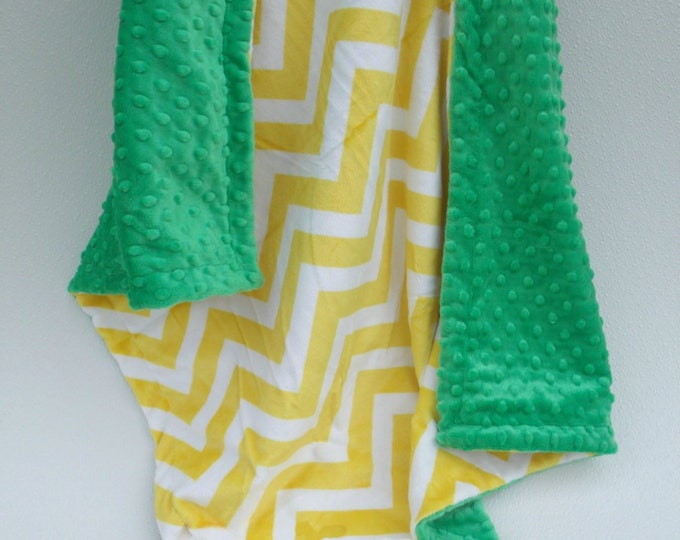 Kelly Green and Yellow Chevron Minky Baby Blanket