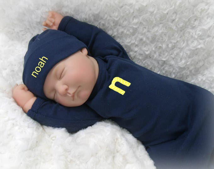 Personalized Navy Baby Gown, Alphabet Applique Baby Boy Coming Home Outfit, Monogram Coming Home Layette, More Colors Available