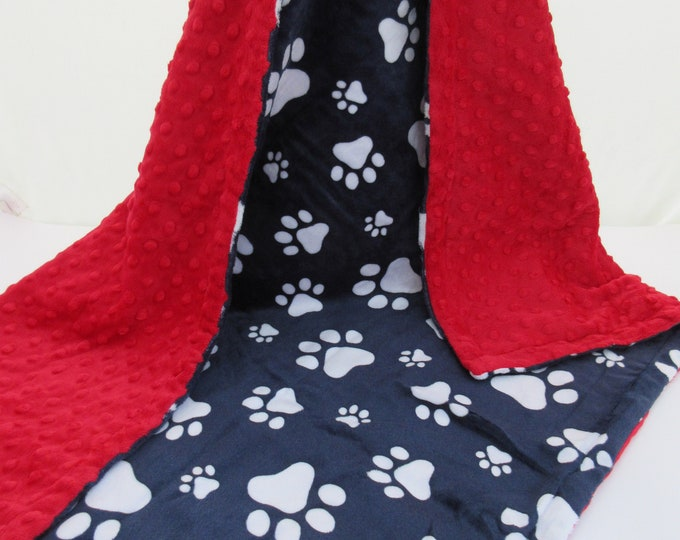 Red and Navy Paw Print Dog Blanket, New Puppy Gift, In Stock Ready to Ship