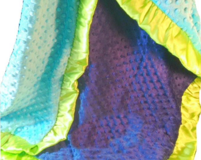 Royal Blue, Lime green, and Turquoise Minky Baby Blanket
