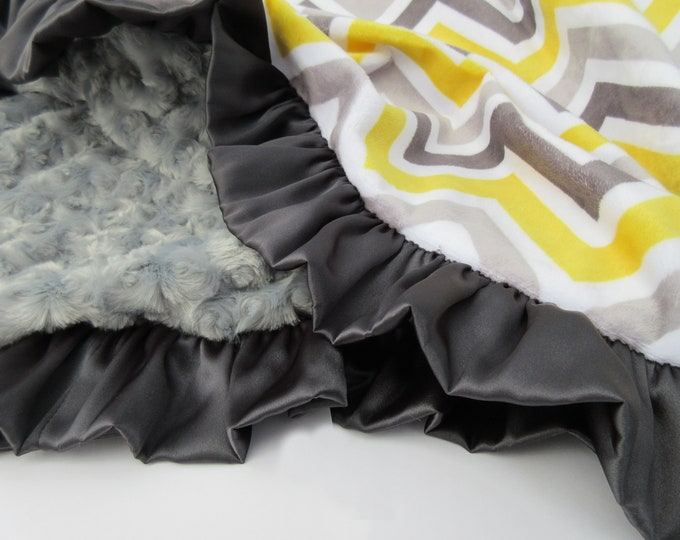 Yellow and Gray Chevron Charcoal Swirl Satin Ruffle Minky Baby Blanket, Ready to Ship, 7