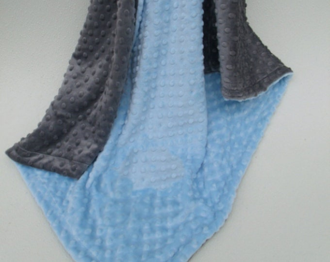 Baby Blue and Slate Gray Dot Minky Baby Blanket for Boy