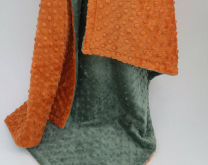 Burnt Orange and Olive Green Dot Minky Baby Blanket - for boy