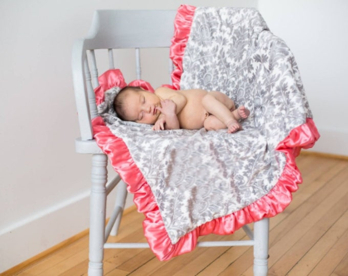 Coral Pink and Gray Damask Minky Baby Blanket - for baby toddler or adult