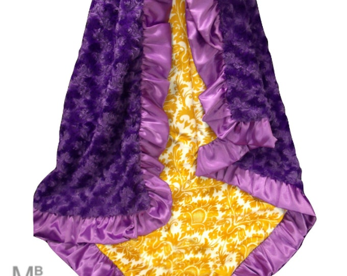 orchid Purple Rose Swirl and Gold Damask Minky Baby Blanket, Baby Girl Blanket