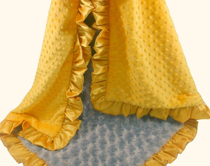 Saffron Yellow and Gray Minky Blanket, Gray and Gold  Minky Blanket - available in three sizes