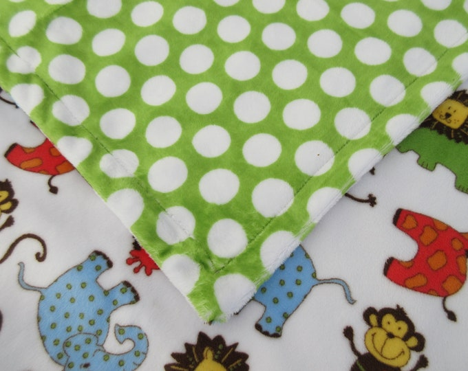Minky Baby Blanket Safari Jungle Animals Print for Baby Boy or Girl