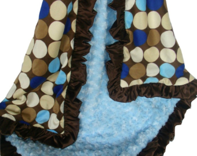 Blue and Brown Large Mod Dots Minky Baby Blanket