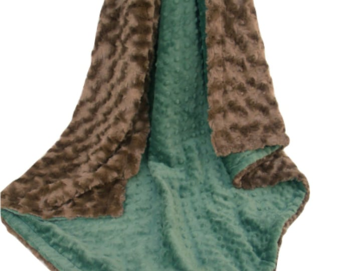 Hunter Olive Green and Brown Minky Blanket for Baby Boy, three sizes