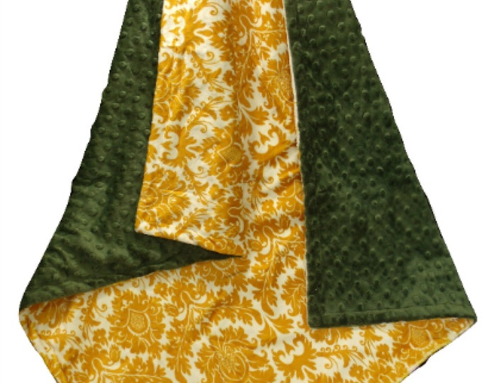 Hunter Green and Gold Minky Blanket