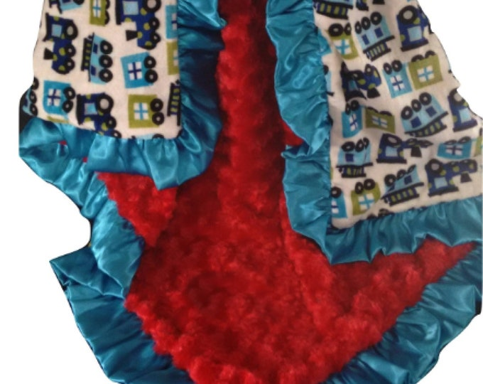 Red and Aqua Train Minky Baby Blanket