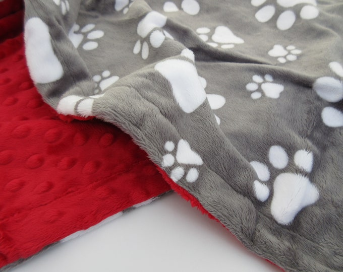 Charcoal Gray and Red Paw Print Dog Blanket, New Puppy Gift, In Stock Ready to Ship