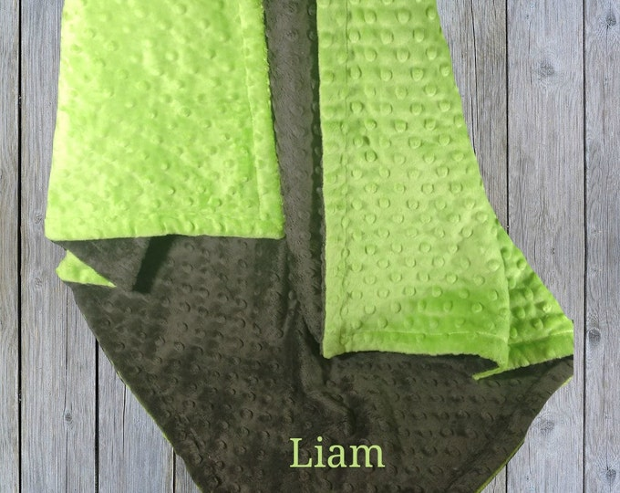 Green and Dark Slate Gray Minky Baby Blanket - Lime Green and Gray Blanket, available in three colors