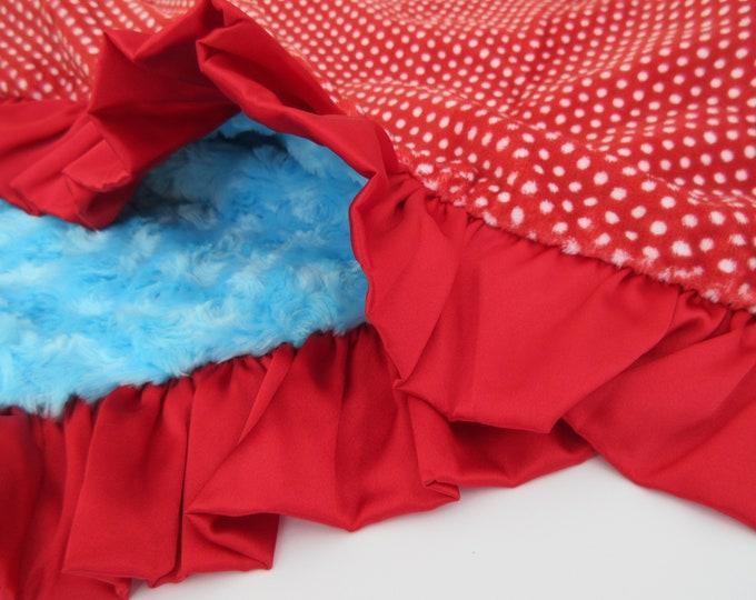 Minky Baby Blanket Red Polka Dot with Aqua Rose Swirl, Baby Girl Blanket