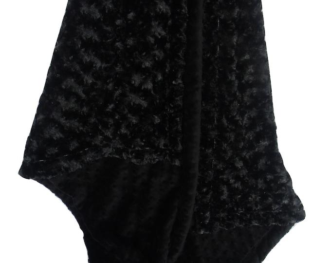 Solid Black Minky Dot and Plush Rose Swirl Blanket - Black Rose Swirl Minky Blanket - Luxe Black Minky Blanket
