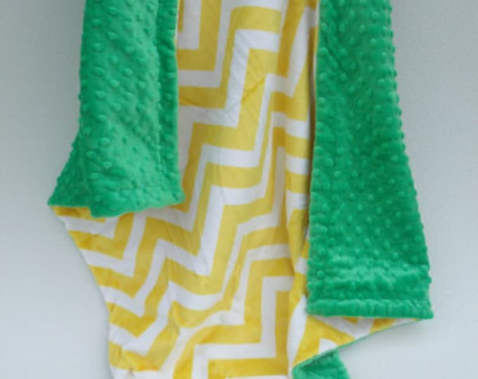 Yellow Chevron and Green Tractor Minky baby Blanket
