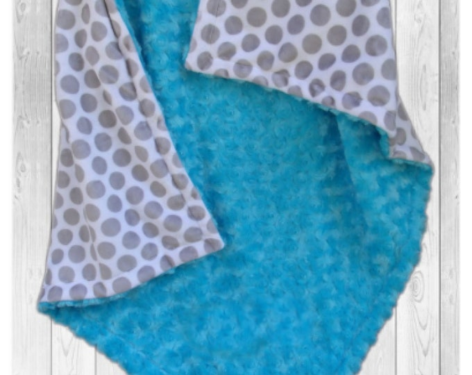 Gray Polka Dot and Aqua Swirl Minky Blanket, Gray and Turquoise Baby blanket