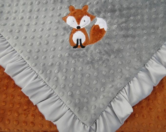 Fox Minky Baby Blanket, Woodland Animal,  Orange Gray Blanket  32 x 28 inches