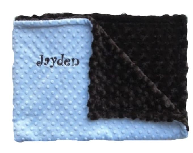 Blue and Brown Minky Baby Blanket