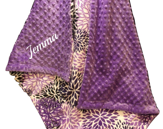 Personalized Purple Floral Minky Baby Blanket, Embroidered Violet baby Girl Gift, Orchid Swaddle Blanket