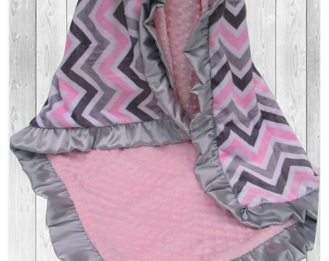 Pink and Gray Chevron Minky Baby Blanket, Gray and Pink Chevron Minky Blanket, Satin Ruffle Minky Blanket,