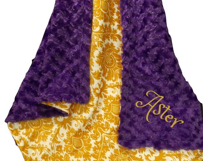 Purple Gold Minky Baby Blanket,