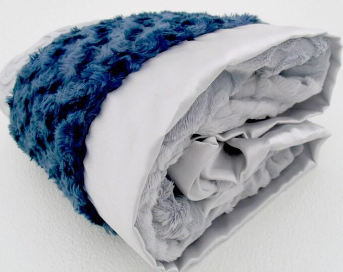 Gray and Navy Minky Baby Blanket