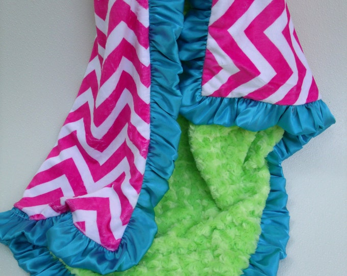 Hot Pink Chevron and Lime Green Minky Blanket, for baby, toddler, teen, or adult