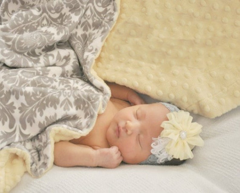Light Yellow Minky Dot and Gray Damask Minky Baby Blanket image 0