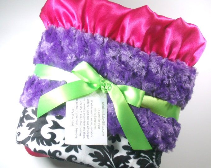 Purple, Hot Pink and Black Damask Minky Blanket - for baby and adults