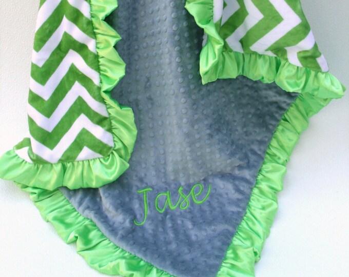 Bright Green Chevron Minky Baby Blanket, personalized