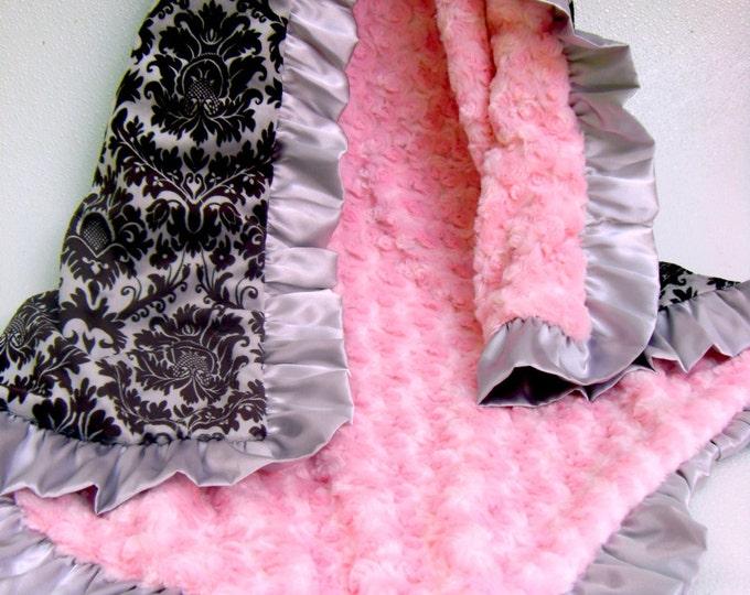 Pink Black Damask Minky Baby Blanket, Personalized Baby Blanket