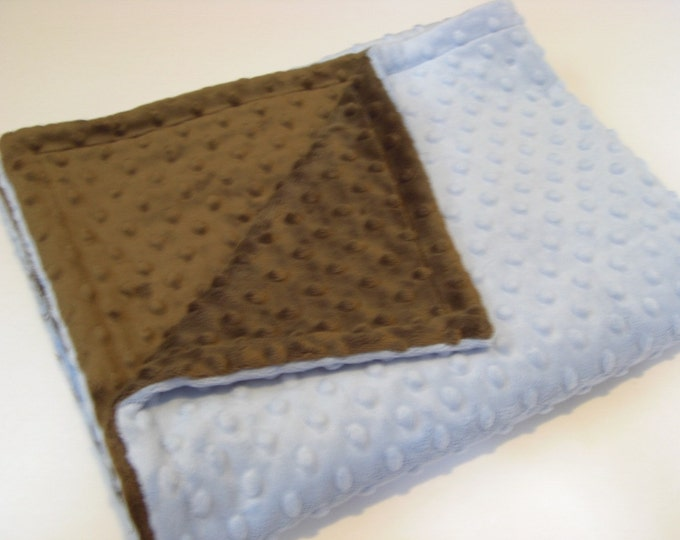 Blue and Brown Minky Dot Baby Blanket, Chocolate Brown Minky Blanket, Brown Blue Baby Boy Blanket, Minky Baby Blanket