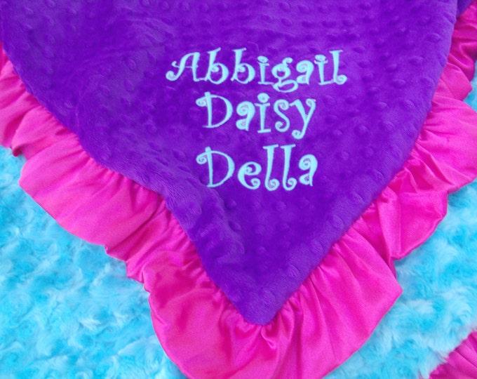 Purple Pink and Turquoise Aqua Minky Baby Blanket