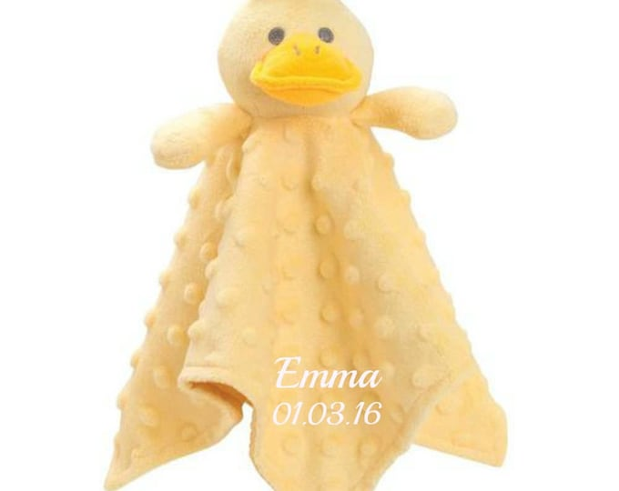 Personalized Yellow Duck Minky Security Blanket, Personalized Security Blanket, Embroidered Baby Keepsake