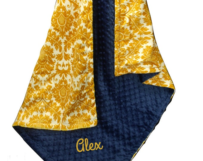 Navy and Yellow Damask Minky Baby Blanket, Saffron Yellow and Blue Swaddle Blanket