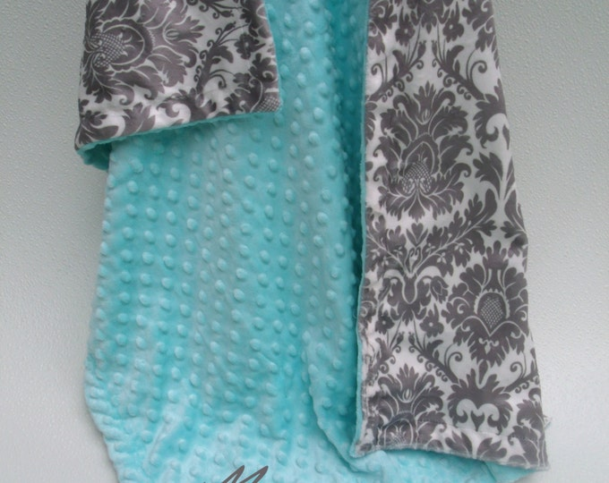 Robin's Egg Blue and Gray Damask Minky Baby Blanket, Light Turquoise Minky Baby Blanket,