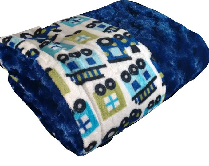 Personalized Minky Baby  Chugga Chugga Choo Choo Train Blanket Navy and Aqua
