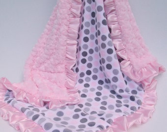 Pink and Gray Polka Dot Minky Baby Blanket, Pink and Gray Mod Dot Minky baby Blanket