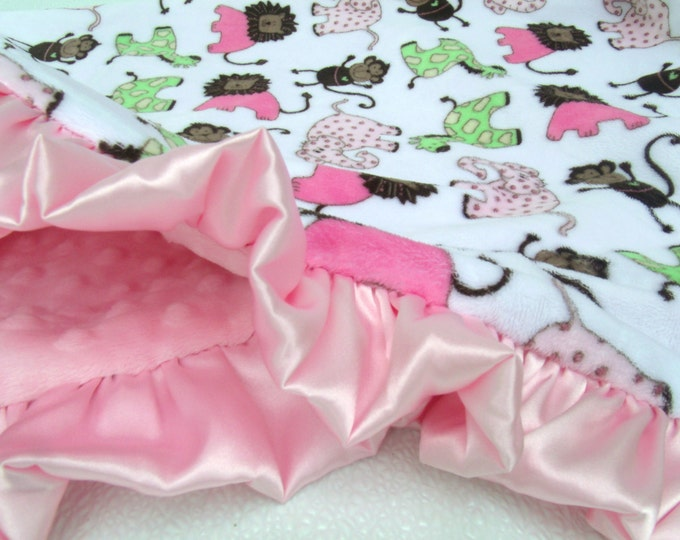 Minky Baby Blanket in Pink and Brown Jungle Print, Woodland Print, Animal Print, for girl
