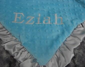 Aqua Turquoise and Gray Minky Baby Blanket
