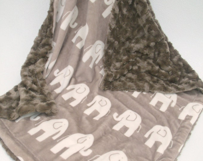 Elephant Minky Baby Blanket in Brown and Cream, Elephant Minky Blanket