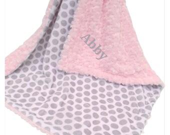 Soft Pink Rose Swirl and Gray Mod Dot Print Minky Baby Blanket,