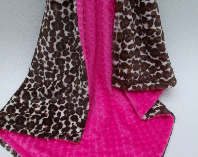 Pink and Leopard Print Baby Blanket, Pink and  Cheetah Print Baby Blanket, Fuchsia Minky Dot and Leopard Minky Blanket, Animal Print Nursery