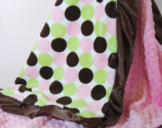 Satin Ruffle Minky Baby Blanket in Hot Pink and Retro Dots